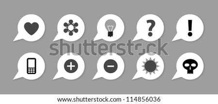 Labels with symbols, arrows on grey - stock vector
