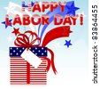 Labor Day background. Gift with red bow and retro stars. 10EPS. Vector. - stock vector