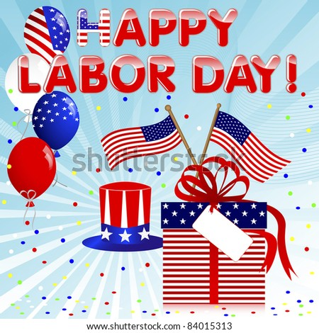 Labor Day background with gift and balloons. 10EPS. Vector. - stock vector