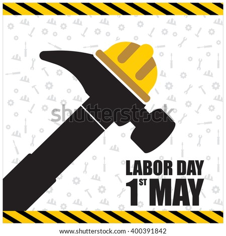 Labor Day hammer creative typography. vector illustration of a happy Labor Day, a national holiday.