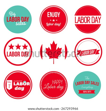 Labor Day Large set. Collection of vintage retro grunge labels, badges and icons. Canadaian Flag with labels - stock vector