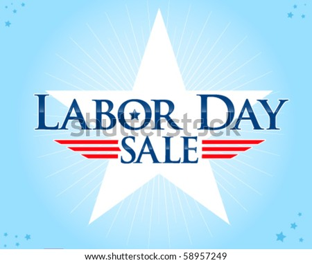 Labor Day sale vector with big star