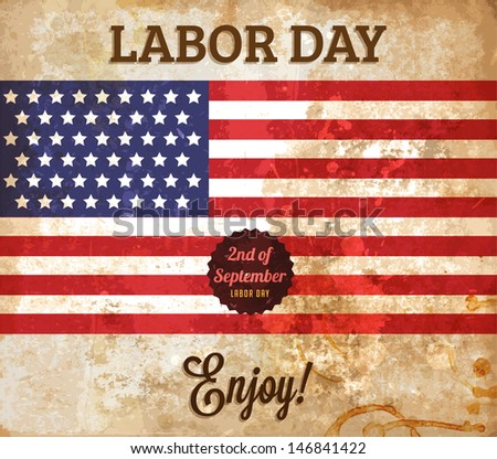 Labor day vintage vector. Paper grunge background texture - stock vector