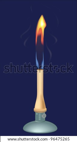 Laboratory bunsen gas burner on blue background. vector - stock vector