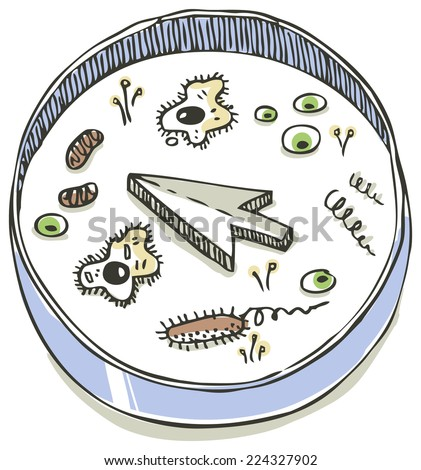 Laboratory dish with cells, bacteria and cursor - stock vector