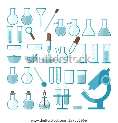 Laboratory equipment set - stock vector