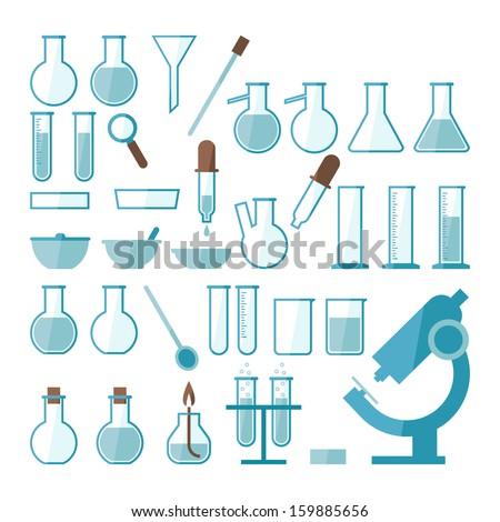 Laboratory equipment set - stock vector