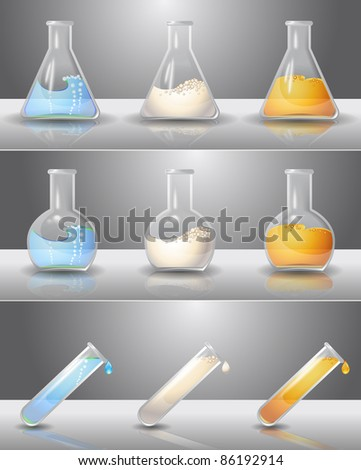 Laboratory flasks with liquids inside - stock vector