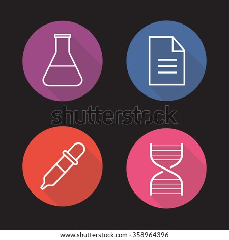 Laboratory flat linear long shadow icons set. Medical lab flask, test results, DNA stand and dropper symbols. Science research equipment. Outline logo concepts. Vector line art illustrations - stock vector