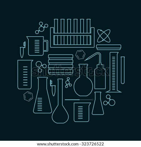 laboratory glass and equipment icons placed in a circle - stock vector