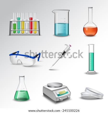 Laboratory glass equipment realistic decorative icons set with flasks beakers and pipette isolated vector illustration - stock vector