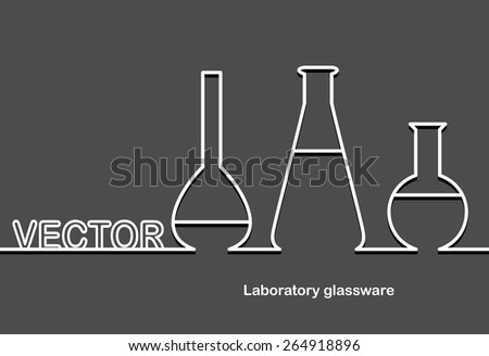 Laboratory glassware and space for text. Flat design.Banners