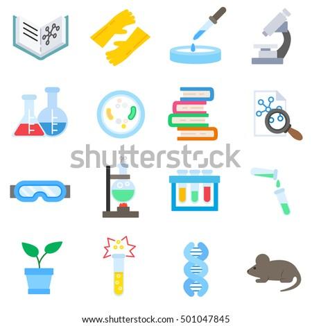 Laboratory Icons Set Science Flat Symbols Stock Vector 501047845