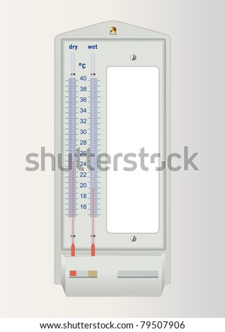 Laboratory psychrometer alcoholic thermometers device for measuring temperature relative humidity air. Blank text. Vector