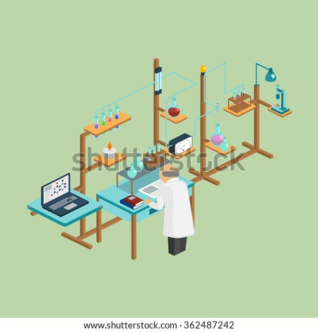 Laboratory research chemical isometric style design vector illustration science for technology concept. - stock vector