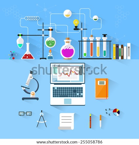 Laboratory workspace and workplace concept. Chemistry, physics, biology.Chemistry info-graphic. Flat design. Vector illustration icons set of science and technology development. - stock vector