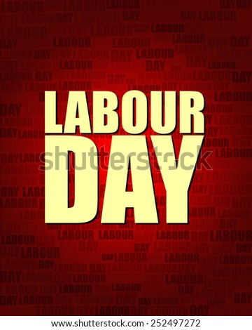 Labour Day with same text on red gradient background.