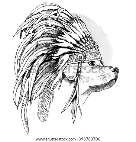 Labrador portrait in profile with a Indian Feather Headdress. Vector illustration.