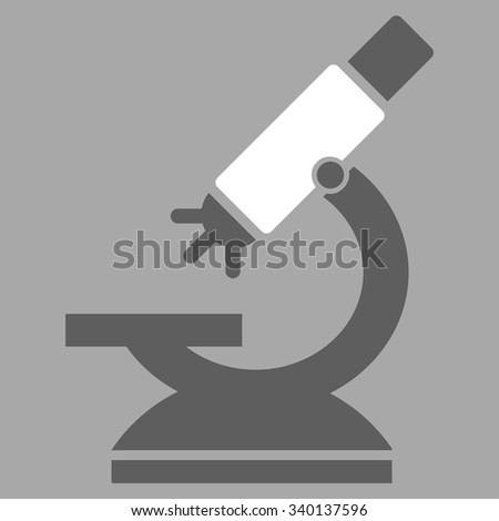 Labs Microscope vector icon. Style is bicolor flat symbol, dark gray and white colors, rounded angles, silver background.