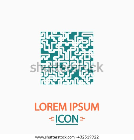 Labyrinth Flat icon on white background. Simple vector illustration - stock vector