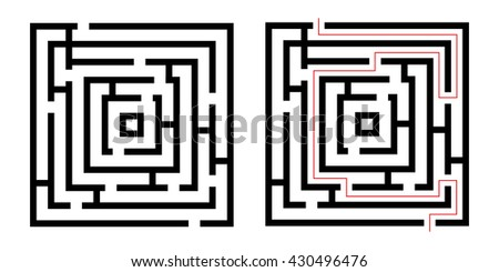Labyrinth , game maze. Isolated on white background. Vector illustration - stock vector