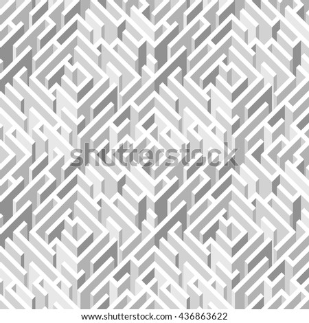 Labyrinth. Geometrical seamless pattern. White geometrical background. Vector illustration - stock vector