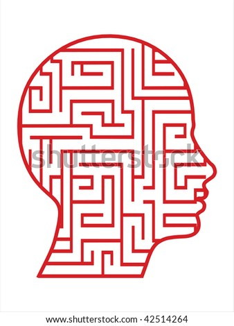 labyrinth head vector - stock vector