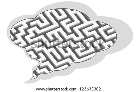 labyrinth in speech bubble, abstract vector illustration