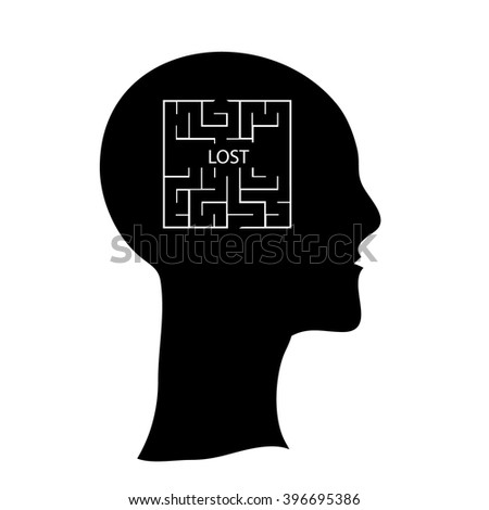 Labyrinth  in the shape of a human head, contrast vector illustration.  Human head with maze inside brains, lost in mind vector concept illustration, icon - stock vector