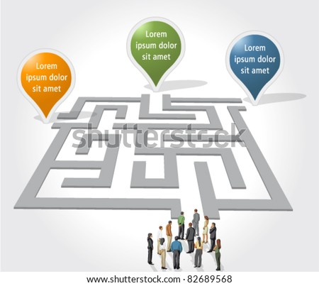 Labyrinth / maze concept with business people - stock vector