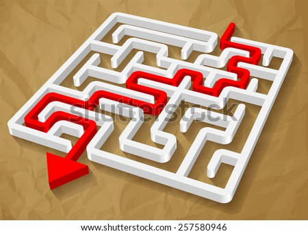 labyrinth maze 3d red round vector on crumpled paper brown background  - stock vector