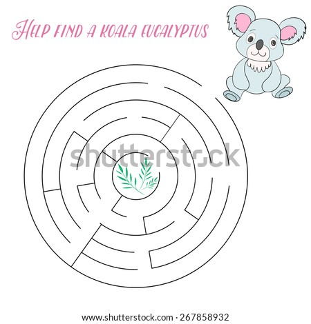 Labyrinth maze find a way koala kids layout for game vector illustration - stock vector