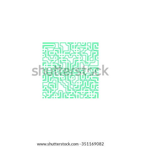 Labyrinth Outline vector icon on white. Line symbol pictogram  - stock vector