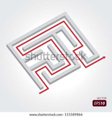 Labyrinth with arrow - stock vector