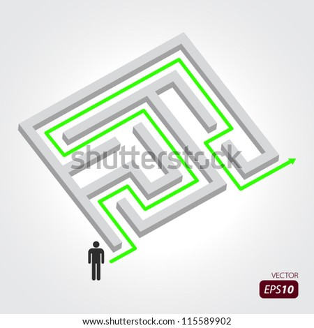 Labyrinth with arrow and people - stock vector