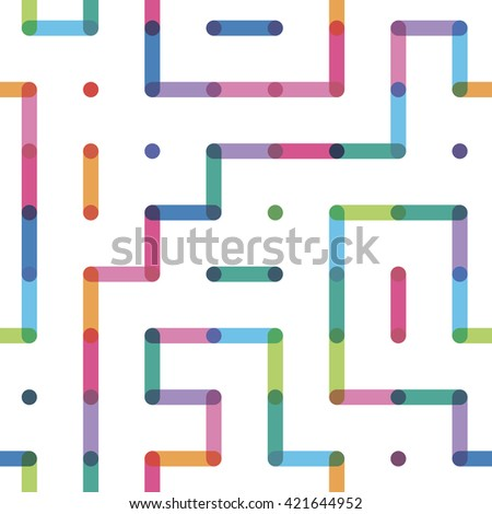 labyrinth with color points a seamless pattern - stock vector