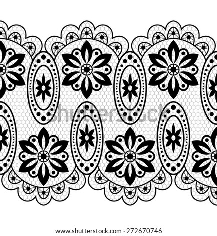 Lace black pattern with flowers on white background