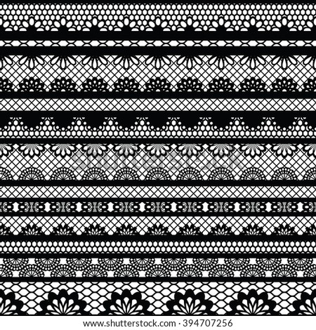Lace black seamless pattern. Lace pattern with stripes. Vector illustration.