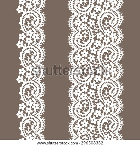 Lace Borders. Vertical Seamless Pattern. - stock vector