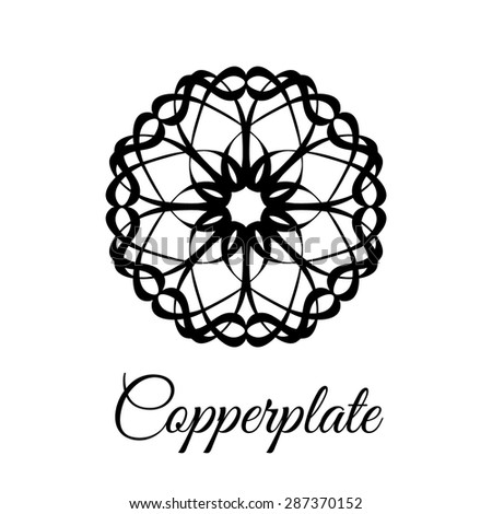 Lace classic calligraphy copperplate circle flower dandelion logo, pattern