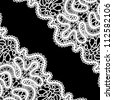 Lace corner on black, vector monochrome background in retro style - stock vector