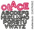 Lace decorative alphabet, letters. - stock vector