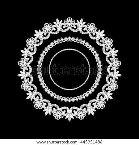 Lace / Doily frame, hand made cutout, wedding decor, design element, vector illustration - stock vector