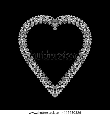 Lace / Doily frame in heart shape, hand made cutout, wedding decor, design element, vector illustration - stock vector