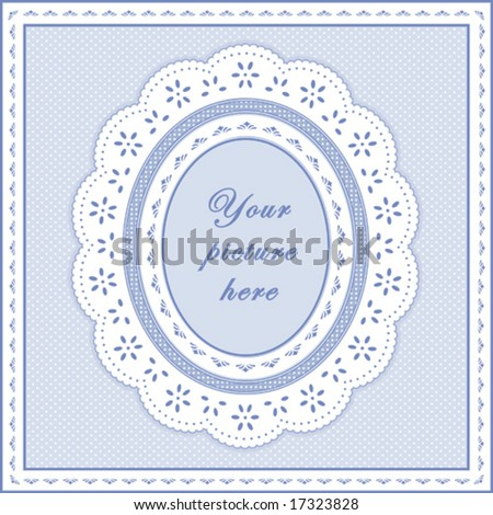 Lace Doily Frame. Vintage white eyelet design pattern, oval copy space, pastel blue polka dot background for albums, scrapbooks, diy.  EPS8 includes pattern swatch that will seamlessly fill any shape. - stock vector