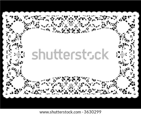Lace Doily Place Mat. Antique border design, vintage pattern, white isolated on black background for setting table, holidays, celebrations, scrapbooks, cake decorating, arts, crafts. EPS8 compatible. - stock vector