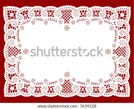 Lace Doily Place Mat. Antique border design, vintage pattern, white isolated on red background for setting table, holidays, celebrations, scrapbooks, cake decorating, Valentines Day. EPS8 compatible. - stock vector