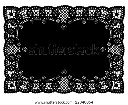 Lace Doily Place Mat. Antique scalloped border design, vintage pattern, black background for holidays, celebrations, setting table, scrapbooks, cake decorating, copy space. EPS8 compatible. - stock vector