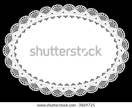 Lace Doily Place Mat. Antique scalloped border pattern, vintage design, white oval, black background for setting table, holidays, celebrations, scrapbooks, cake decorating, arts, crafts. EPS8. - stock vector