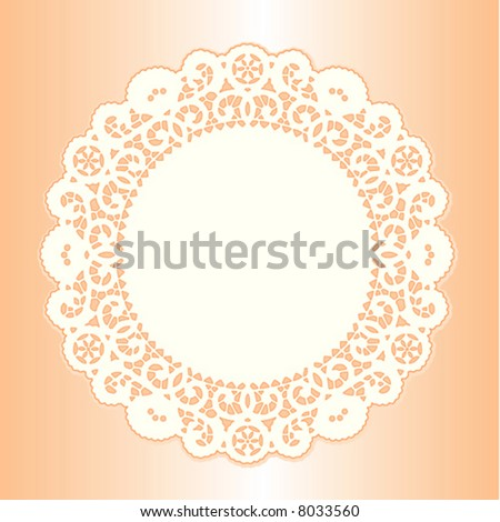 Lace Doily Place Mat, antique vintage border design with copy space, pastel coral background. For setting table, holidays, celebrations, scrapbooks, cake decorating, EPS8 compatible.  - stock vector